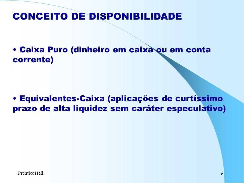 Prentice Hall9 CONCEITO DE DISPONIBILIDADE Caixa Puro (dinheiro em caixa ou em conta corrente) Equivalentes-Caixa (aplicações de curtíssimo prazo de a