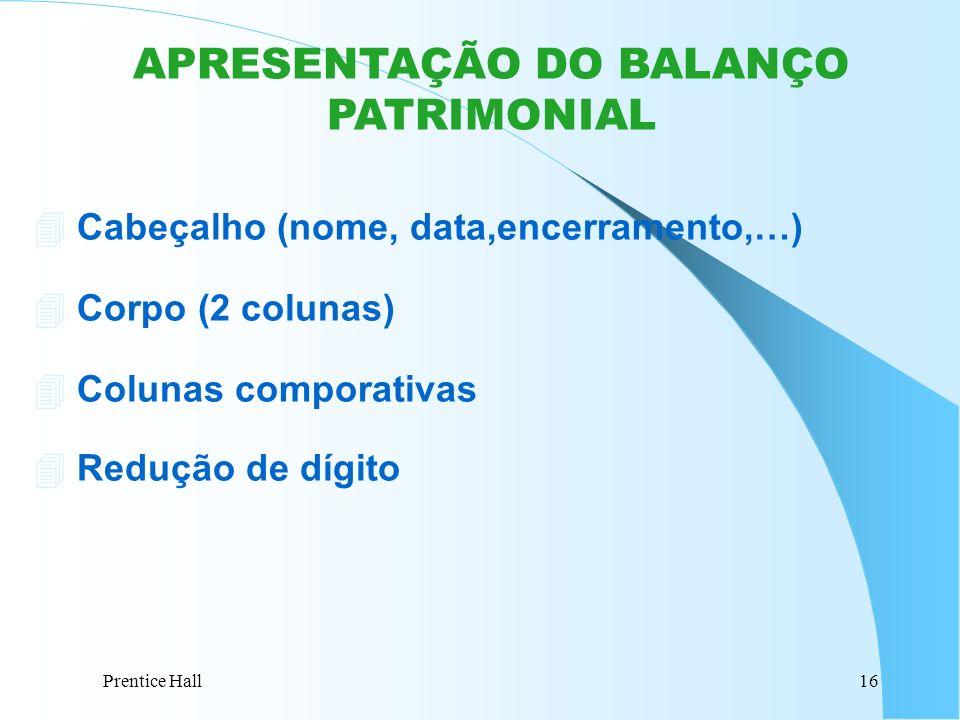 Prentice Hall16 APRESENTAÇÃO DO BALANÇO PATRIMONIAL 4 Cabeçalho (nome, data,encerramento,…) 4 Corpo (2 colunas) 4 Colunas comporativas Redução de dígi
