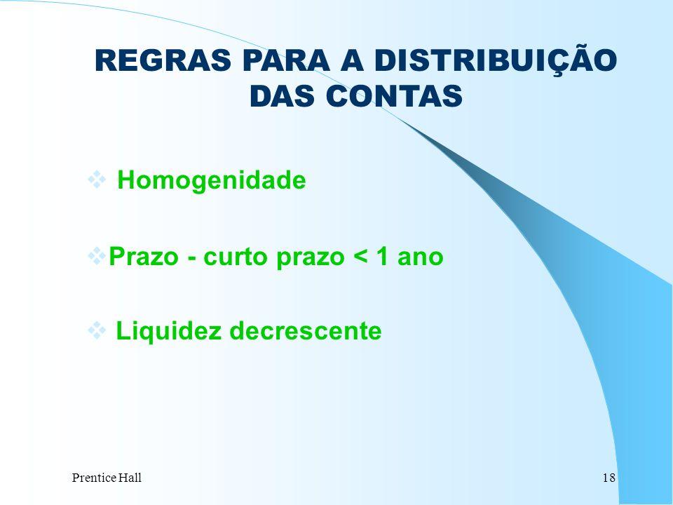 Prentice Hall18 REGRAS PARA A DISTRIBUIÇÃO DAS CONTAS Homogenidade vPrazo - curto prazo < 1 ano v Liquidez decrescente