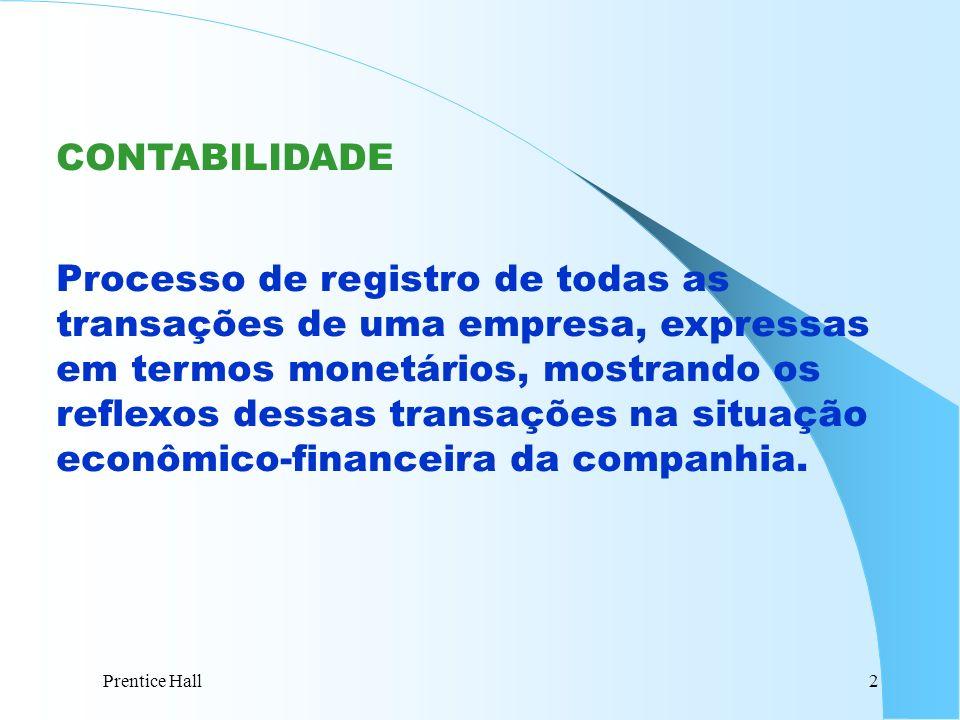Prentice Hall2 CONTABILIDADE Processo de registro de todas as transações de uma empresa, expressas em termos monetários, mostrando os reflexos dessas