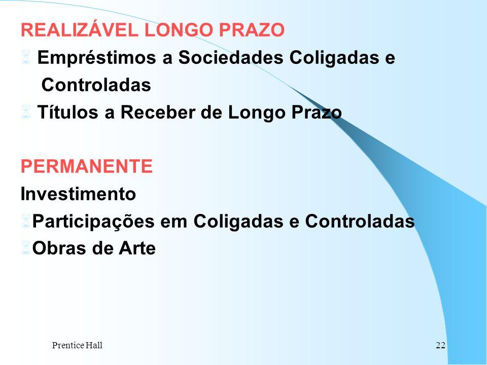 Prentice Hall22 REALIZÁVEL LONGO PRAZO 6 Empréstimos a Sociedades Coligadas e Controladas 6 Títulos a Receber de Longo Prazo PERMANENTE Investimento 6