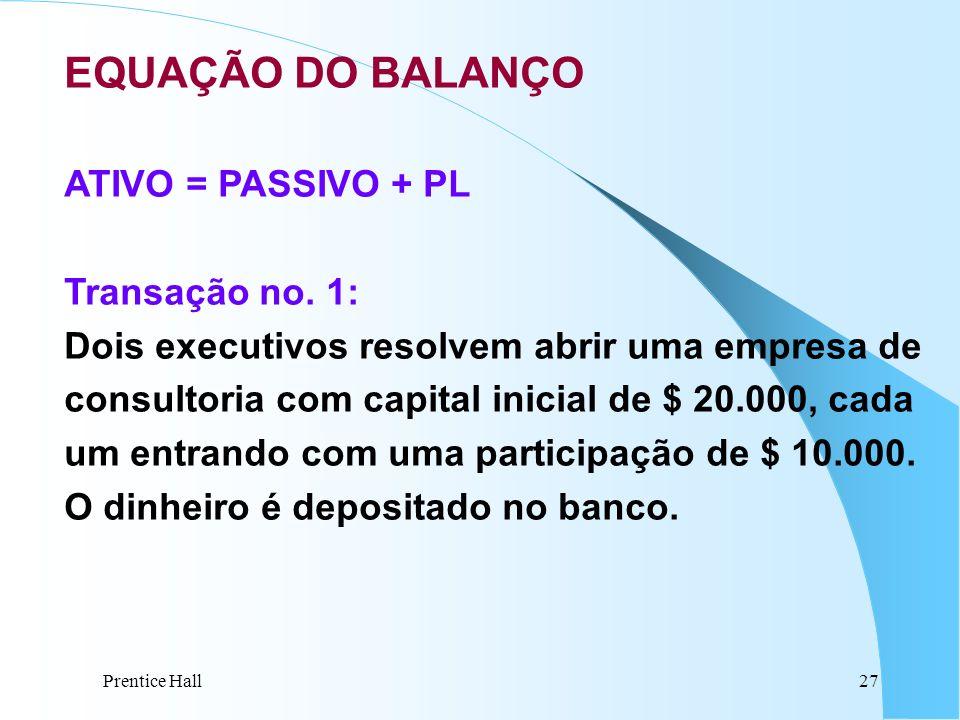Prentice Hall27 EQUAÇÃO DO BALANÇO ATIVO = PASSIVO + PL Transação no. 1: Dois executivos resolvem abrir uma empresa de consultoria com capital inicial