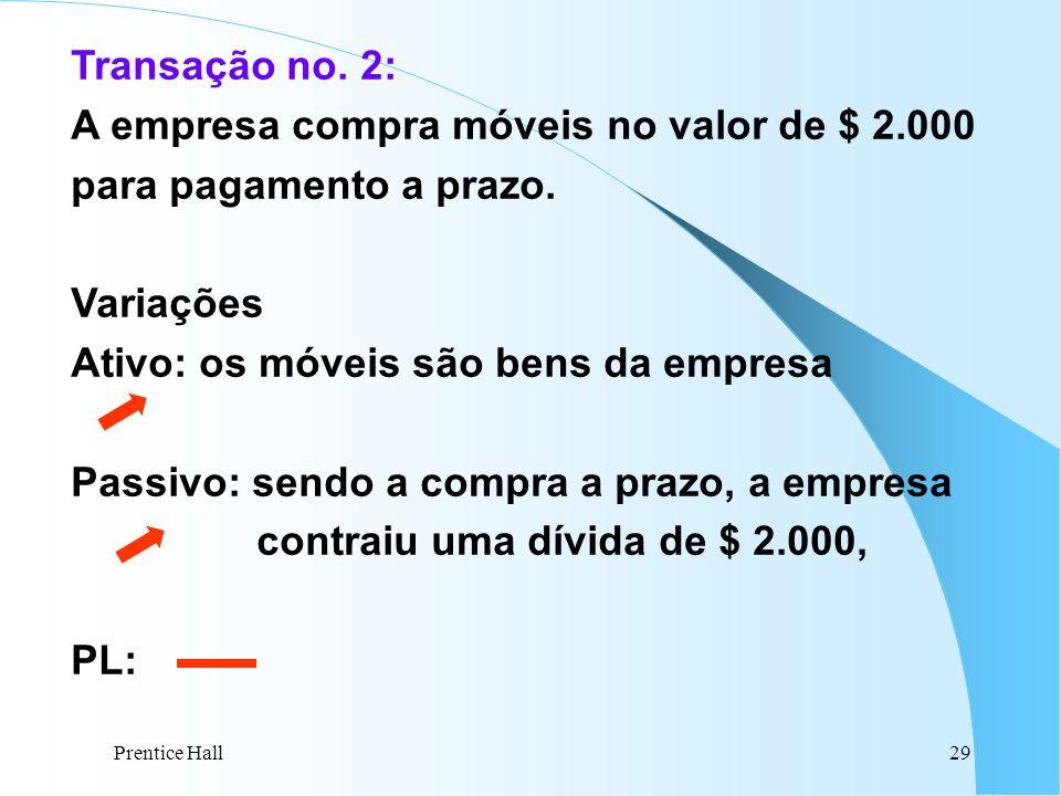 Prentice Hall29 Transação no. 2: A empresa compra móveis no valor de $ 2.000 para pagamento a prazo. Variações Ativo: os móveis são bens da empresa Pa