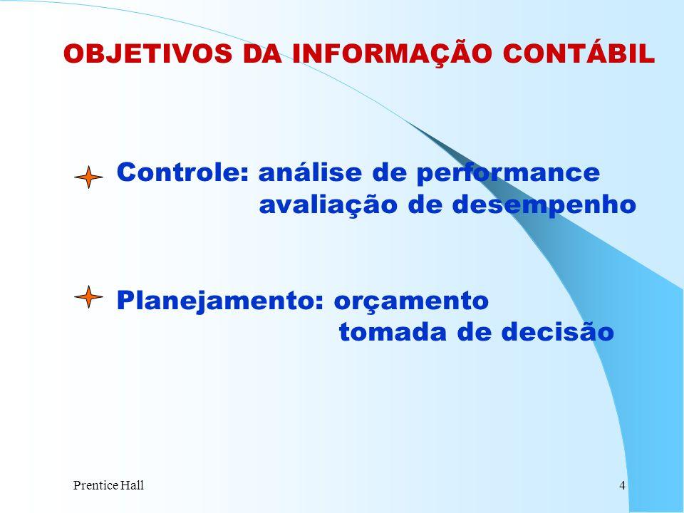 Prentice Hall4 OBJETIVOS DA INFORMAÇÃO CONTÁBIL Controle: análise de performance avaliação de desempenho Planejamento: orçamento tomada de decisão