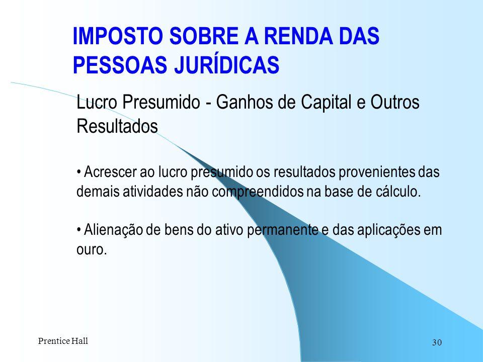 30 IMPOSTO SOBRE A RENDA DAS PESSOAS JURÍDICAS Lucro Presumido - Ganhos de Capital e Outros Resultados Acrescer ao lucro presumido os resultados prove