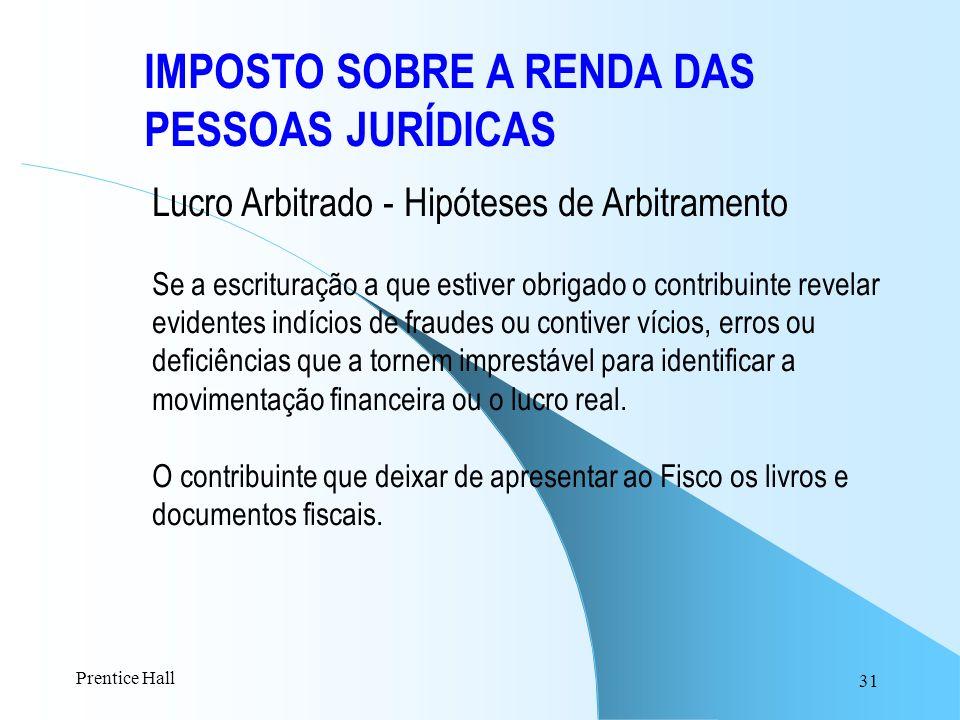 31 IMPOSTO SOBRE A RENDA DAS PESSOAS JURÍDICAS Lucro Arbitrado - Hipóteses de Arbitramento Se a escrituração a que estiver obrigado o contribuinte rev