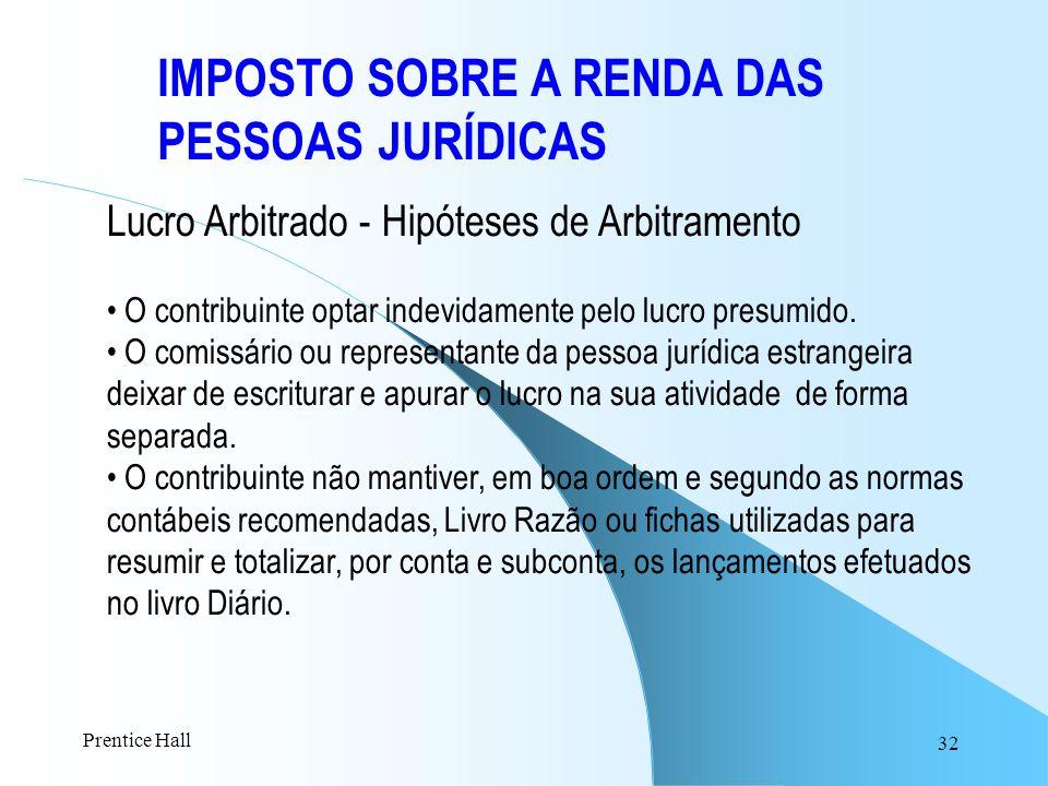 32 IMPOSTO SOBRE A RENDA DAS PESSOAS JURÍDICAS Lucro Arbitrado - Hipóteses de Arbitramento O contribuinte optar indevidamente pelo lucro presumido. O