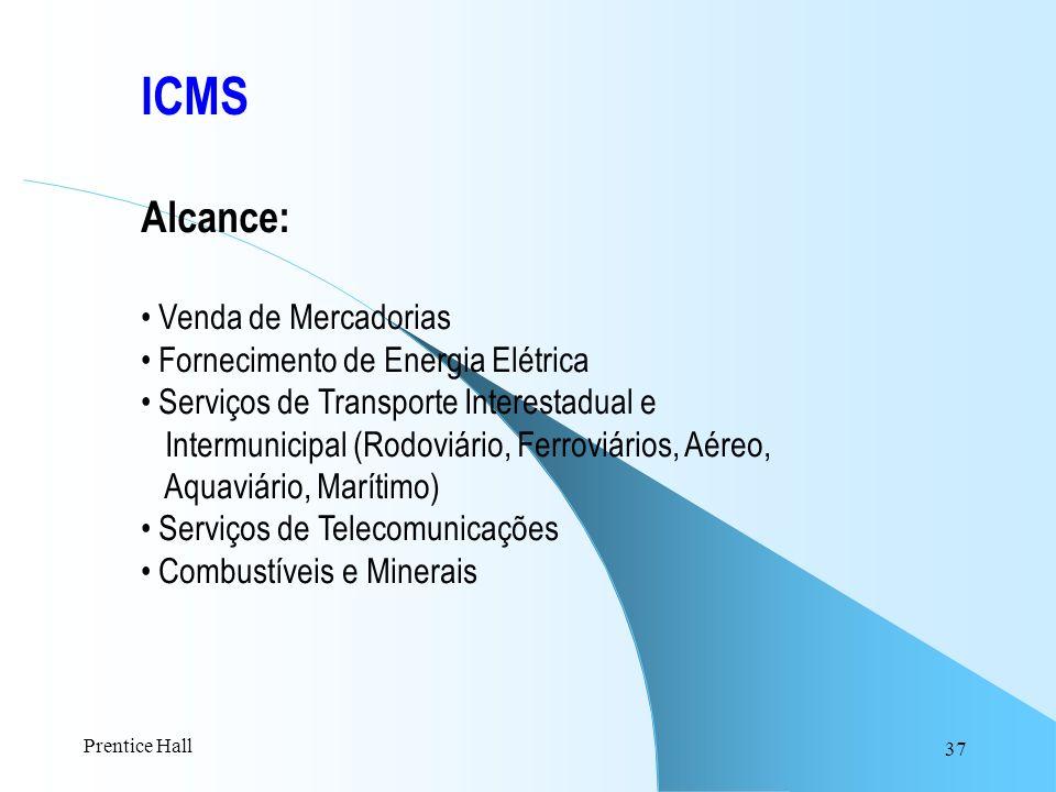 37 ICMS Alcance: Venda de Mercadorias Fornecimento de Energia Elétrica Serviços de Transporte Interestadual e Intermunicipal (Rodoviário, Ferroviários