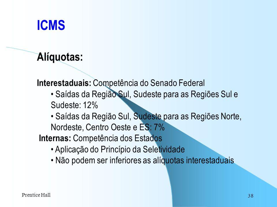 38 ICMS Alíquotas: Interestaduais: Competência do Senado Federal Saídas da Região Sul, Sudeste para as Regiões Sul e Sudeste: 12% Saídas da Região Sul