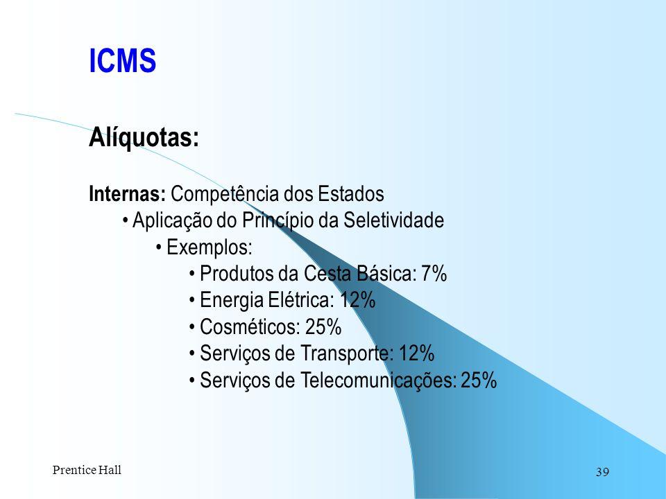 39 ICMS Alíquotas: Internas: Competência dos Estados Aplicação do Princípio da Seletividade Exemplos: Produtos da Cesta Básica: 7% Energia Elétrica: 1