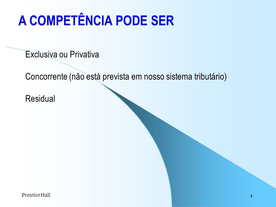 4 A COMPETÊNCIA PODE SER Exclusiva ou Privativa Concorrente (não está prevista em nosso sistema tributário) Residual Prentice Hall