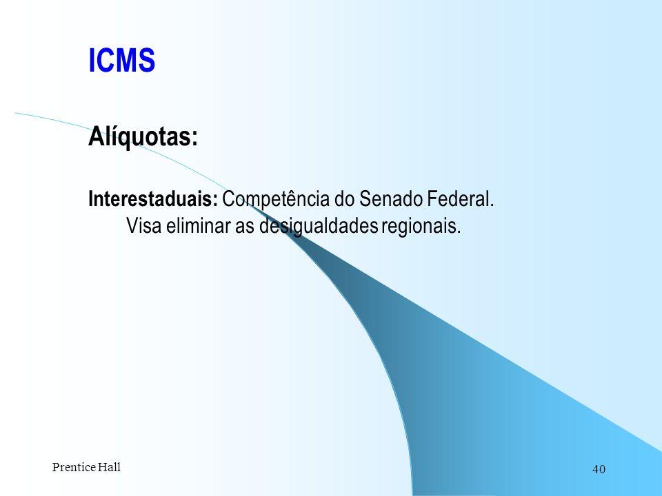 40 ICMS Alíquotas: Interestaduais: Competência do Senado Federal. Visa eliminar as desigualdades regionais. Prentice Hall