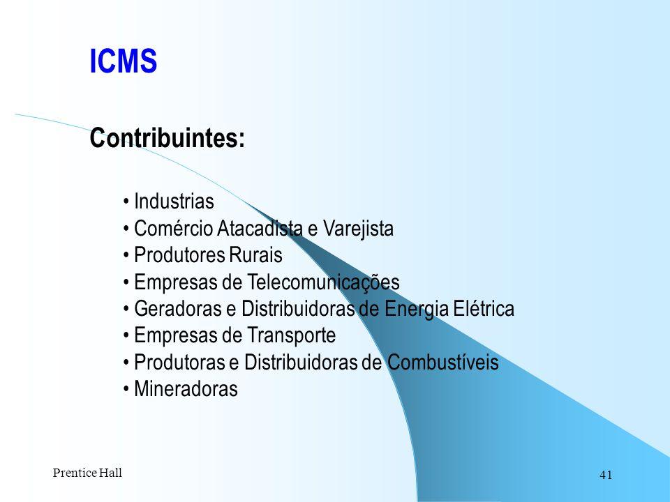 41 ICMS Contribuintes: Industrias Comércio Atacadista e Varejista Produtores Rurais Empresas de Telecomunicações Geradoras e Distribuidoras de Energia