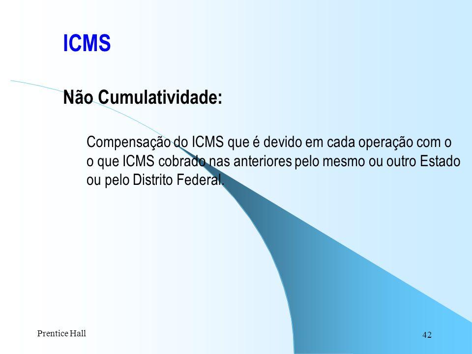 42 ICMS Não Cumulatividade: Compensação do ICMS que é devido em cada operação com o o que ICMS cobrado nas anteriores pelo mesmo ou outro Estado ou pe