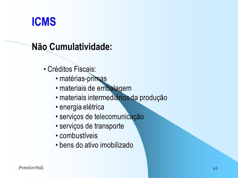 43 ICMS Não Cumulatividade: Créditos Fiscais: matérias-primas materiais de embalagem materiais intermediários da produção energia elétrica serviços de