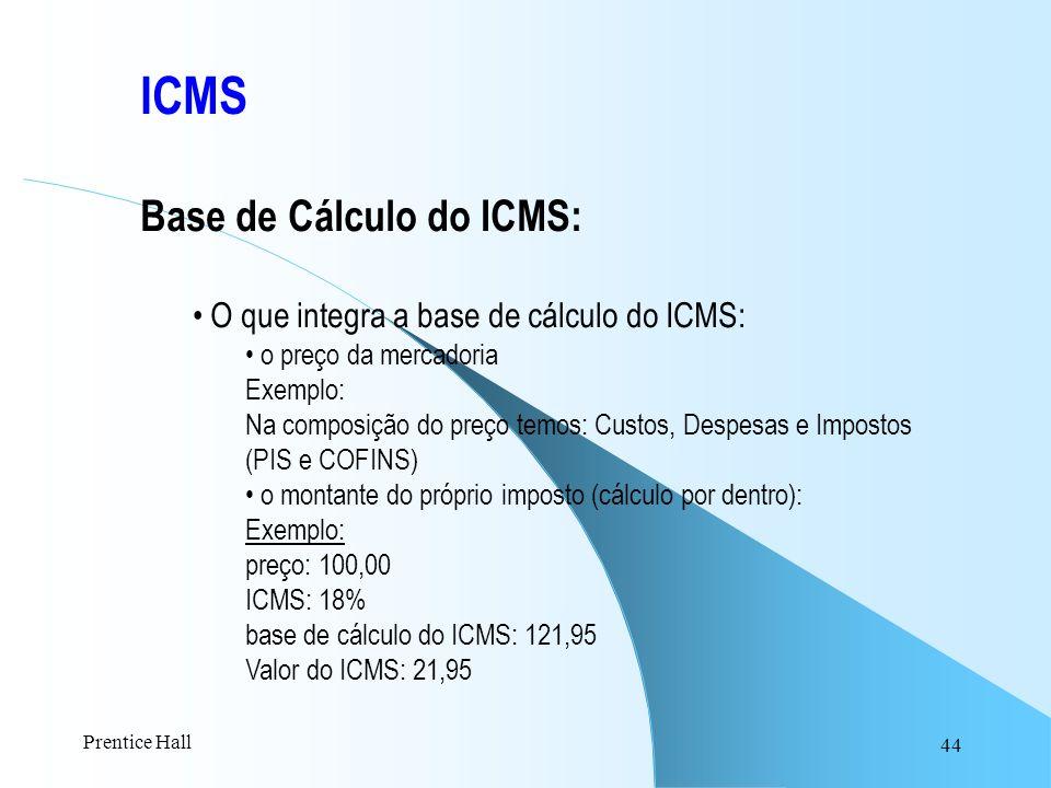 44 ICMS Base de Cálculo do ICMS: O que integra a base de cálculo do ICMS: o preço da mercadoria Exemplo: Na composição do preço temos: Custos, Despesa