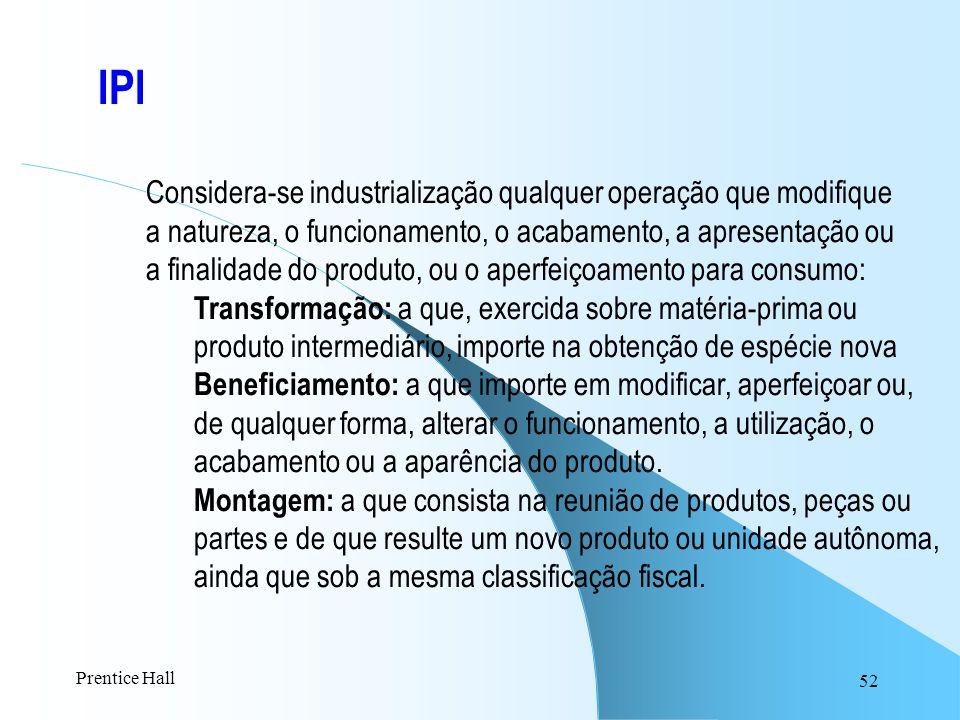 52 IPI Considera-se industrialização qualquer operação que modifique a natureza, o funcionamento, o acabamento, a apresentação ou a finalidade do prod