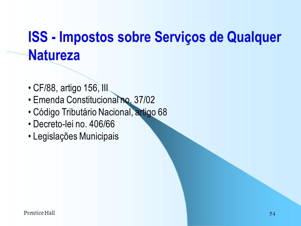 54 ISS - Impostos sobre Serviços de Qualquer Natureza CF/88, artigo 156, III Emenda Constitucional no. 37/02 Código Tributário Nacional, artigo 68 Dec