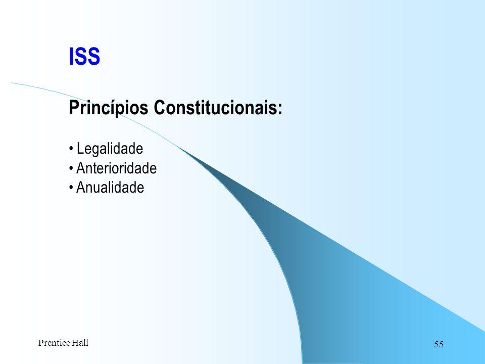 55 ISS Princípios Constitucionais: Legalidade Anterioridade Anualidade Prentice Hall