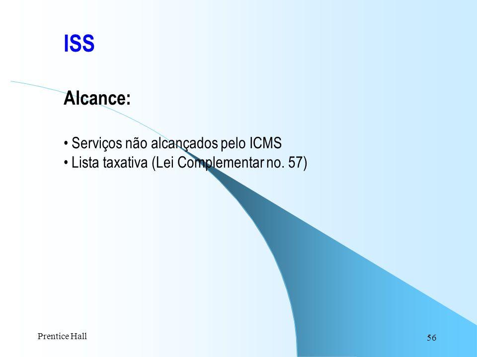 56 ISS Alcance: Serviços não alcançados pelo ICMS Lista taxativa (Lei Complementar no. 57) Prentice Hall