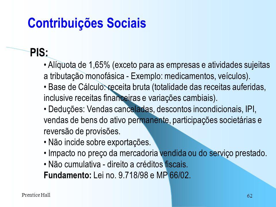 62 Contribuições Sociais PIS: Alíquota de 1,65% (exceto para as empresas e atividades sujeitas a tributação monofásica - Exemplo: medicamentos, veícul