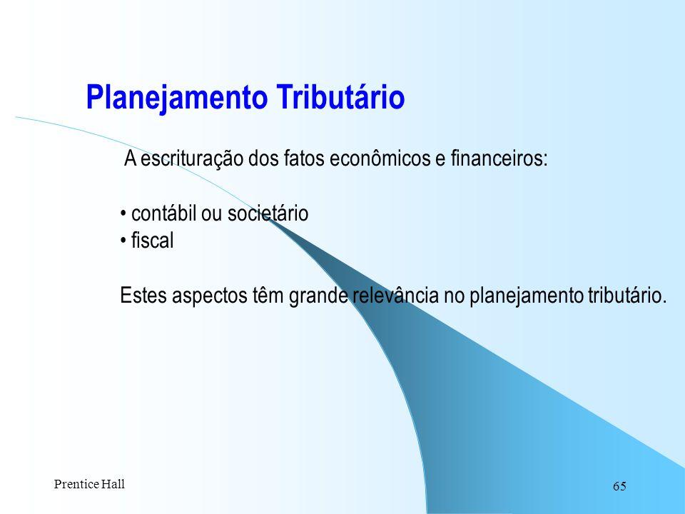 65 Planejamento Tributário A escrituração dos fatos econômicos e financeiros: contábil ou societário fiscal Estes aspectos têm grande relevância no pl