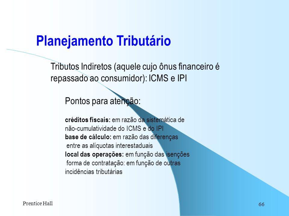 66 Planejamento Tributário Tributos Indiretos (aquele cujo ônus financeiro é repassado ao consumidor): ICMS e IPI Pontos para atenção: créditos fiscai
