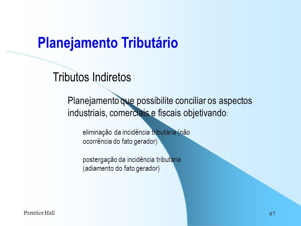 67 Planejamento Tributário Tributos Indiretos Planejamento que possibilite conciliar os aspectos industriais, comerciais e fiscais objetivando : elimi