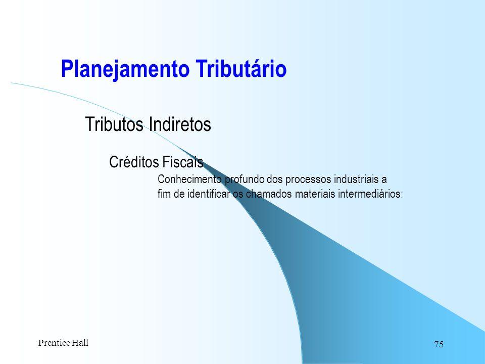 75 Planejamento Tributário Tributos Indiretos Créditos Fiscais Conhecimento profundo dos processos industriais a fim de identificar os chamados materi