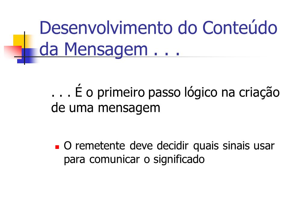 Desenvolvimento do Conteúdo da Mensagem...... É o primeiro passo lógico na criação de uma mensagem O remetente deve decidir quais sinais usar para com