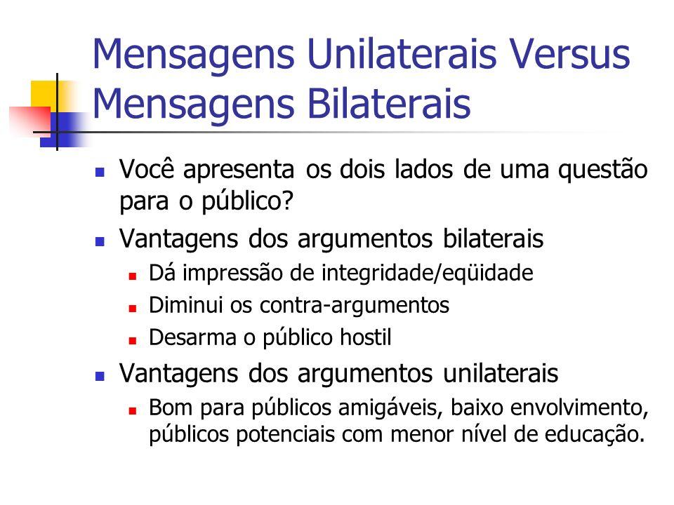 Mensagens Unilaterais Versus Mensagens Bilaterais Você apresenta os dois lados de uma questão para o público? Vantagens dos argumentos bilaterais Dá i