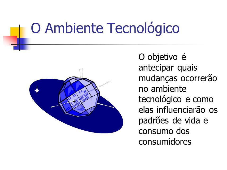 O Ambiente Tecnológico O objetivo é antecipar quais mudanças ocorrerão no ambiente tecnológico e como elas influenciarão os padrões de vida e consumo