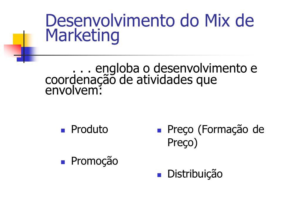 Produto Promoção Preço (Formação de Preço) Distribuição Desenvolvimento do Mix de Marketing... engloba o desenvolvimento e coordenação de atividades q