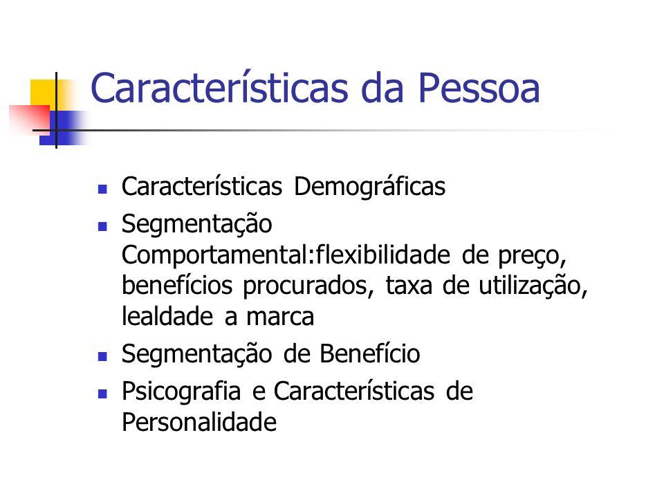 Características da Pessoa Características Demográficas Segmentação Comportamental:flexibilidade de preço, benefícios procurados, taxa de utilização, l