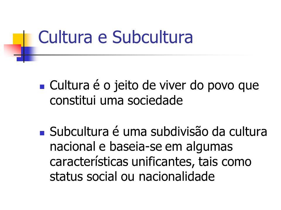 Cultura e Subcultura Cultura é o jeito de viver do povo que constitui uma sociedade Subcultura é uma subdivisão da cultura nacional e baseia-se em alg