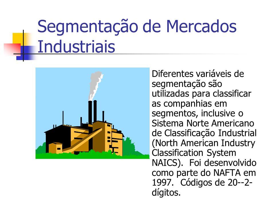 Segmentação de Mercados Industriais Diferentes variáveis de segmentação são utilizadas para classificar as companhias em segmentos, inclusive o Sistem