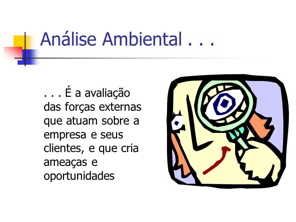 Análise Ambiental...... É a avaliação das forças externas que atuam sobre a empresa e seus clientes, e que cria ameaças e oportunidades