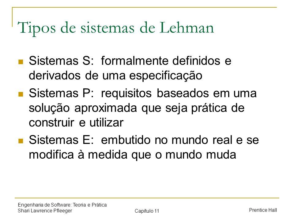Prentice Hall Engenharia de Software: Teoria e Prática Shari Lawrence Pfleeger Capítulo 11 Tipos de sistemas de Lehman Sistemas S: formalmente definid