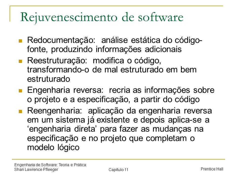 Prentice Hall Engenharia de Software: Teoria e Prática Shari Lawrence Pfleeger Capítulo 11 Rejuvenescimento de software Redocumentação: análise estáti