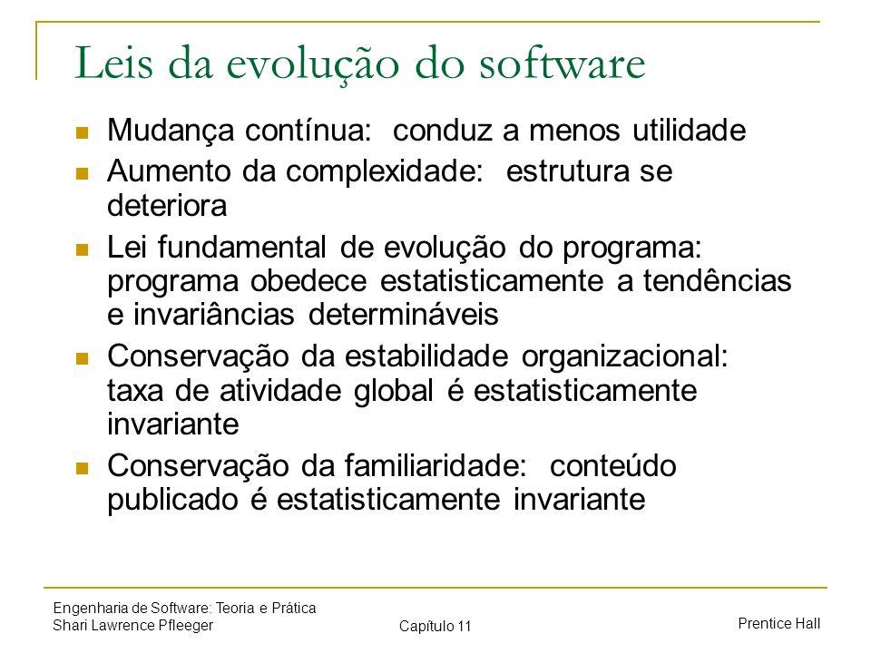 Prentice Hall Engenharia de Software: Teoria e Prática Shari Lawrence Pfleeger Capítulo 11 Leis da evolução do software Mudança contínua: conduz a men