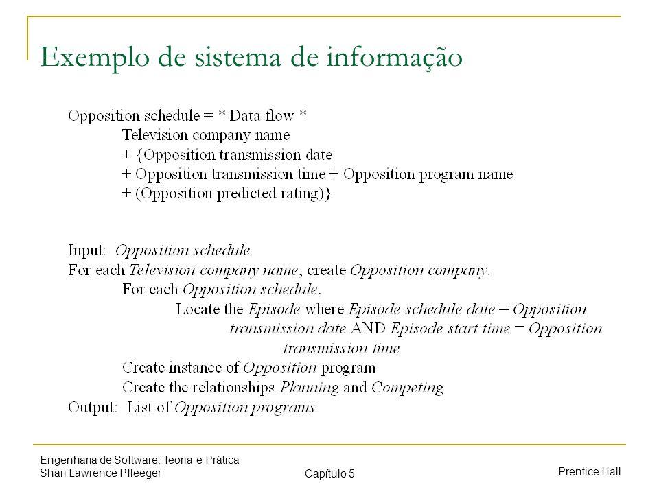 Prentice Hall Engenharia de Software: Teoria e Prática Shari Lawrence Pfleeger Capítulo 5 Exemplo de sistema de informação
