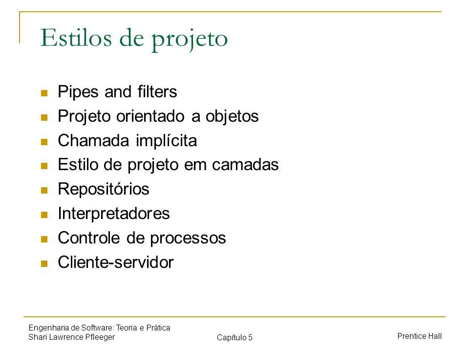 Prentice Hall Engenharia de Software: Teoria e Prática Shari Lawrence Pfleeger Capítulo 5 Estilos de projeto Pipes and filters Projeto orientado a obj