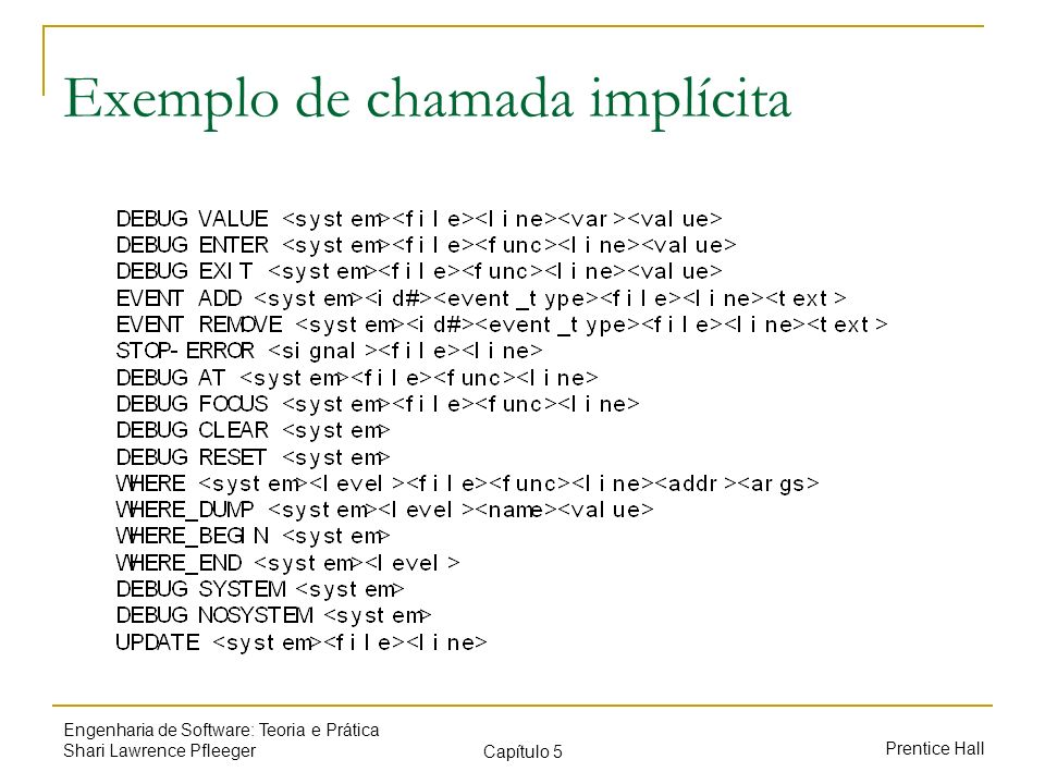 Prentice Hall Engenharia de Software: Teoria e Prática Shari Lawrence Pfleeger Capítulo 5 Exemplo de abstração DO WHILE I is between 1 and (length of L)-1: Set LOW to index of smallest value in L(I),..., L(length of L) Interchange L(I) and L(LOW) END DO