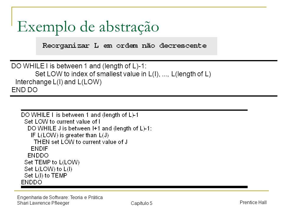 Prentice Hall Engenharia de Software: Teoria e Prática Shari Lawrence Pfleeger Capítulo 5 Exemplo de abstração DO WHILE I is between 1 and (length of