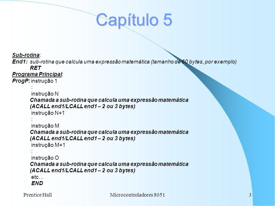 Prentice HallMicrocontroladores 80513 Capítulo 5 Sub-rotina: End1: sub-rotina que calcula uma expressão matemática (tamanho de 60 bytes, por exemplo) RET Programa Principal: ProgP: instrução 1 : instrução N Chamada a sub-rotina que calcula uma expressão matemática (ACALL end1/LCALL end1 – 2 ou 3 bytes) instrução N+1 : instrução M Chamada a sub-rotina que calcula uma expressão matemática (ACALL end1/LCALL end1 – 2 ou 3 bytes) instrução M+1 : instrução O Chamada a sub-rotina que calcula uma expressão matemática (ACALL end1/LCALL end1 – 2 ou 3 bytes) etc… END
