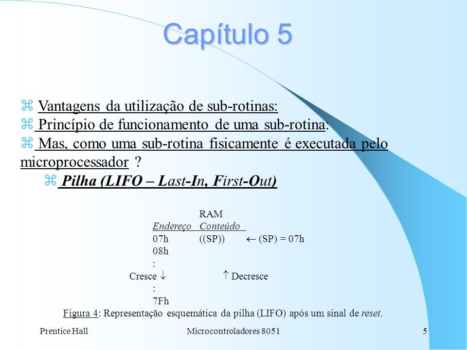 Prentice HallMicrocontroladores 80515 Capítulo 5 z Vantagens da utilização de sub-rotinas: z Princípio de funcionamento de uma sub-rotina: z Mas, como uma sub-rotina fisicamente é executada pelo microprocessador .