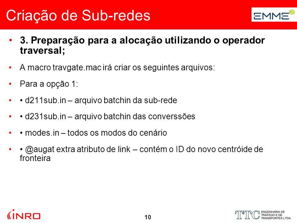 10 Criação de Sub-redes 3. Preparação para a alocação utilizando o operador traversal; A macro travgate.mac irá criar os seguintes arquivos: Para a op