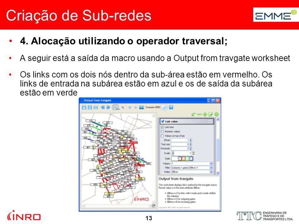13 Criação de Sub-redes 4. Alocação utilizando o operador traversal; A seguir está a saída da macro usando a Output from travgate worksheet Os links c