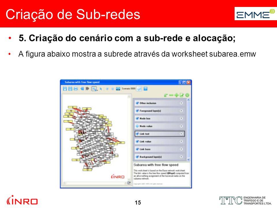 15 Criação de Sub-redes 5. Criação do cenário com a sub-rede e alocação; A figura abaixo mostra a subrede através da worksheet subarea.emw