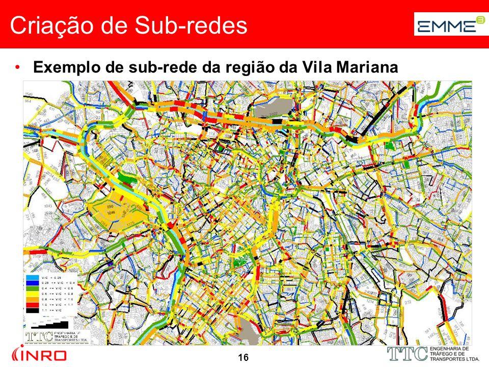 17 Exemplo de sub-rede da região da Vila Mariana Criação de Sub-redes